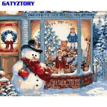 GATYZTORY cadre noël neige peinture à la main par numéros paysage peint à la main peinture à l'huile moderne mur Art décor à la maison cadeau Unique