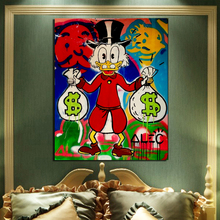 Alec Monopoly Cartoon Duck With Money Canvas Painting Poster Print Marble Wall Art Decorative Picture Modern Home Decor
