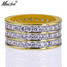 HOT!!! Hip Hop 3 Rows Micro Pave CZ Diamond Luxury Brand Mens Rings Fashion 18K Gold Dainty Ring Free Shipping Bulgaria