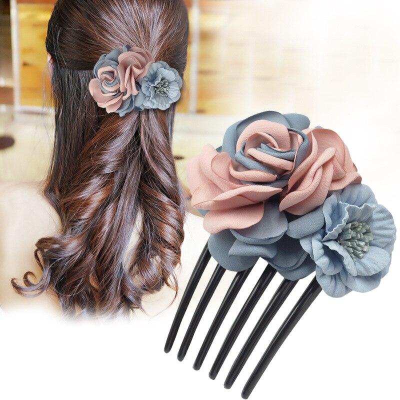 Ladies Sweet Flower Fabric Head Piece Comb Headdress Hairpins Floral Women Bridesmaid Jewelry Hair Accessories Para El Cabello