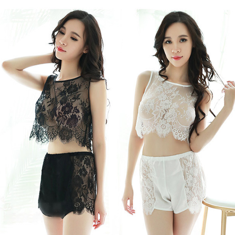 Women's Sleepwear Sexy Pajama Sets Sleepwear Nightwear Sexy Pijamas Sets short lace underwear women night suit Sleeveless