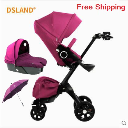 Free Shipping Baby Stroller High Land-Scape Stroller Luxury Baby Carriages Portable Folding Pram 2 in 1 все цены
