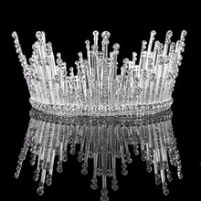 3 1/2 inch Full Rhinestone Crystal Simulated Pearl Crown Luxury Wedding Party Pageant Prom Tiara Jewelry