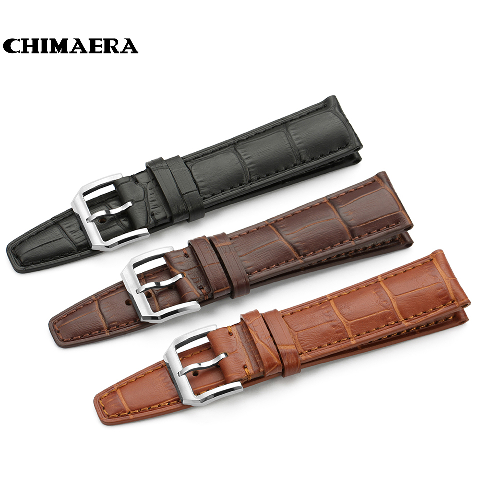 CHIMAERA 20mm 21mm 22mm High quality Watchband Genuine cowhide leather Watch Strap Band with silver pin buckle For IWC belt
