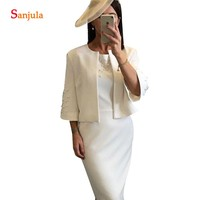 Sheath 3/4 Sleeves Ivory Mother Of Groom Dress Knee Length Bride Mother Dresses With Jacket Elegant Pearls Lady Party Gowns MY11
