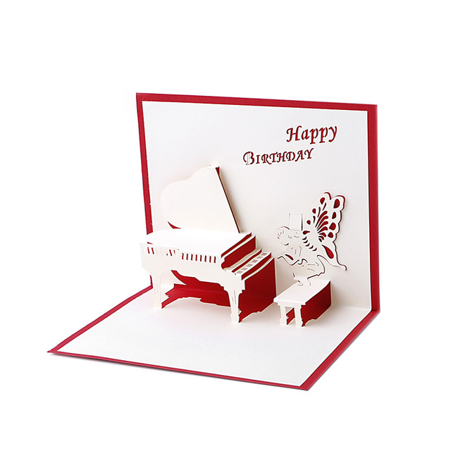 birthday greeting cards 3d laser cut happy birthday greeting cards piano greeting gift card postcards handmade - Happy Birthday Gift Card