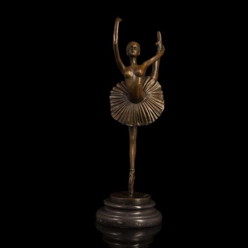 Dancing Girl Figurine Sculpture Hand Made Bronze Ballerina Statue Figure Artwork