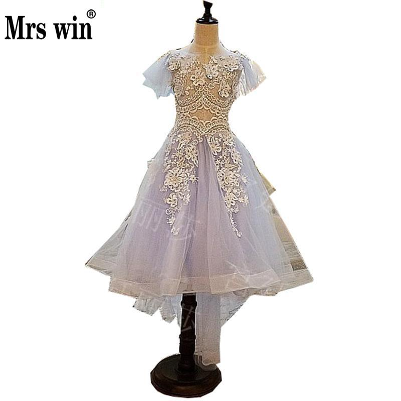 Blue First Communion   Dresses   For   Girl   New Style Summer Tulle Lace Pegant   Flower     Girls     Dresses   For Wedding And Party Custom MadeC