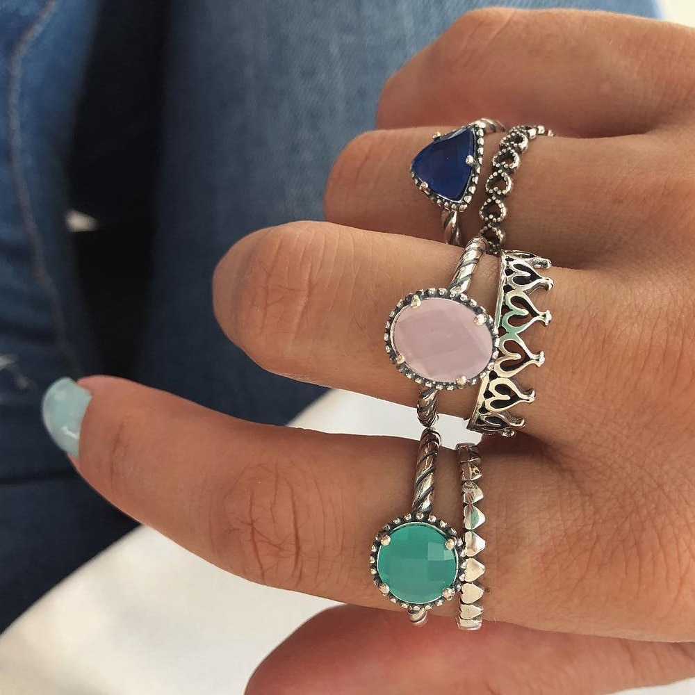 6 pcs/set Crystal Round Heart Crown Vintage Antique Silver Rings Set Fashion Knuckle Midi Rings Statement Jewelry Bague Femme