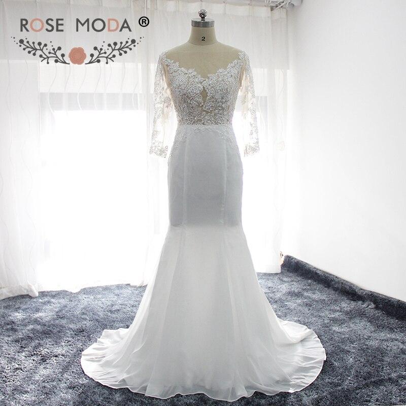 Rose Moda Long Sleeves Boho Wedding Dress Backless Lace Mermaid Wedding Dresses Real Photos