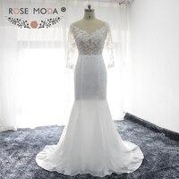 Rose Moda Long Sleeves Boho Wedding Dress Open Back Lace Mermaid Wedding Dresses For Summer