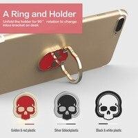 Innovative Skull Shape Mobile Phone Ring Holder 360 Rotation Adjustable Metal Cell Phone Finger Ring Holder for Samsung J25