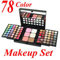 78 Color Eyeshadow Palette Set sombra de Ojos 48 + 24 brillo de Labios + 6 Fundación Face Powder/Blush Maquillaje Kit de Cosméticos ARRIBA