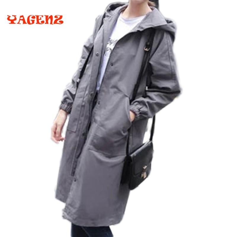Autumn Mid-Long Windbreaker 2017 Spring Fashion Army Green Women Black   Trench   Coat Long Sleeve   Trench   coat Outwear Plus Size