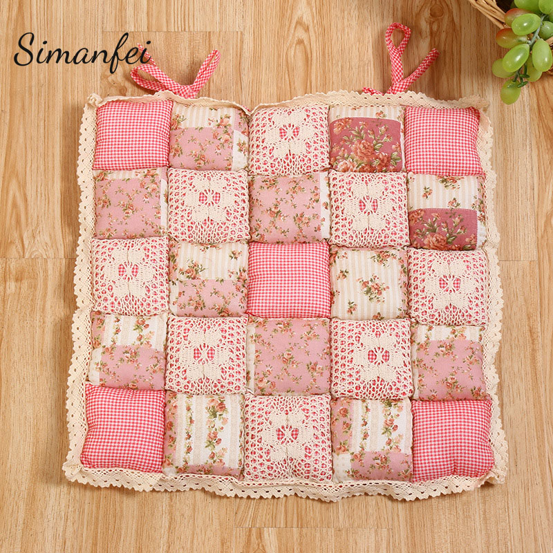 Simanfei Chair Seat Cushion 2017 Cotton Plaid Floral Square Throw Pillows Soft Chair Almofada Rural Style Lace Futon Mat Cojines ...
