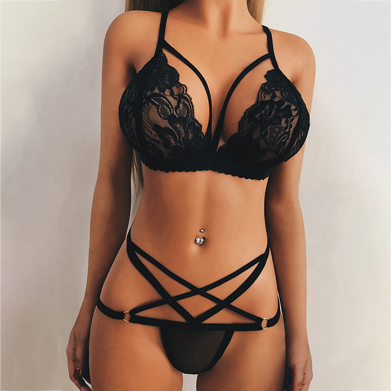 2019 Female Sexy lace   bra     set   women Black floral push up transparent bralette lingerie seamless underwear   briefs     sets