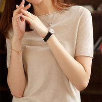 Summer Sweaters JECH Spring Autumn Casual Fashion Women Solid Short Sleeve Rolled O neck Pullovers Jumper Knitted