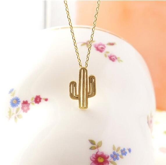 Jisensp Bohemian Cactus Halsketten & Anhänger Frauen Naturpflanzenschmuck Langkettenhalsband Saguaro 2019 Geburtstagsgeschenke Bijoux