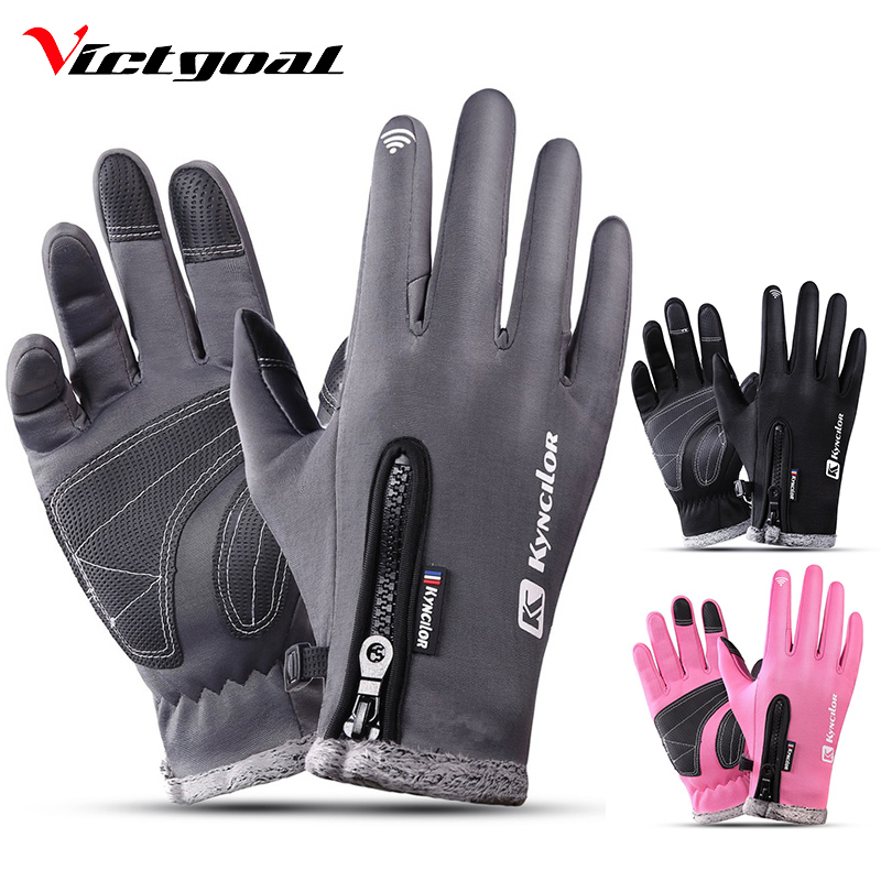 VICTGOAL Winter Cycling Gloves Full Finger Men Women Thermal Waterproof Ski Gloves Touch Screen Outdoor Sport Motorcycling Glove