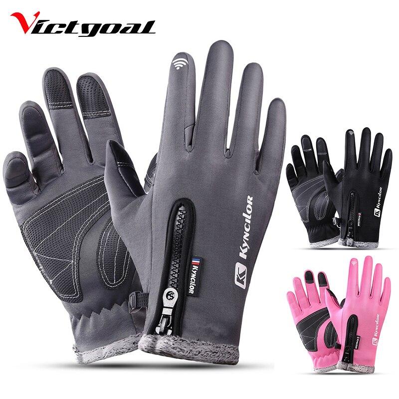 VICTGOAL invierno ciclismo guantes dedo completo de las mujeres de los hombres térmico impermeable guantes de esquí de pantalla táctil deporte al aire libre de motociclismo guante