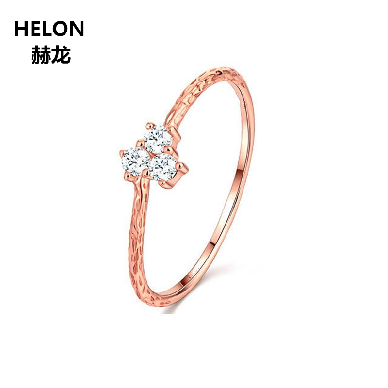 Solid 14k Rose Gold Women Engagement Wedding Ring Party Fine Jewelry CZ solid 14k rose gold 100