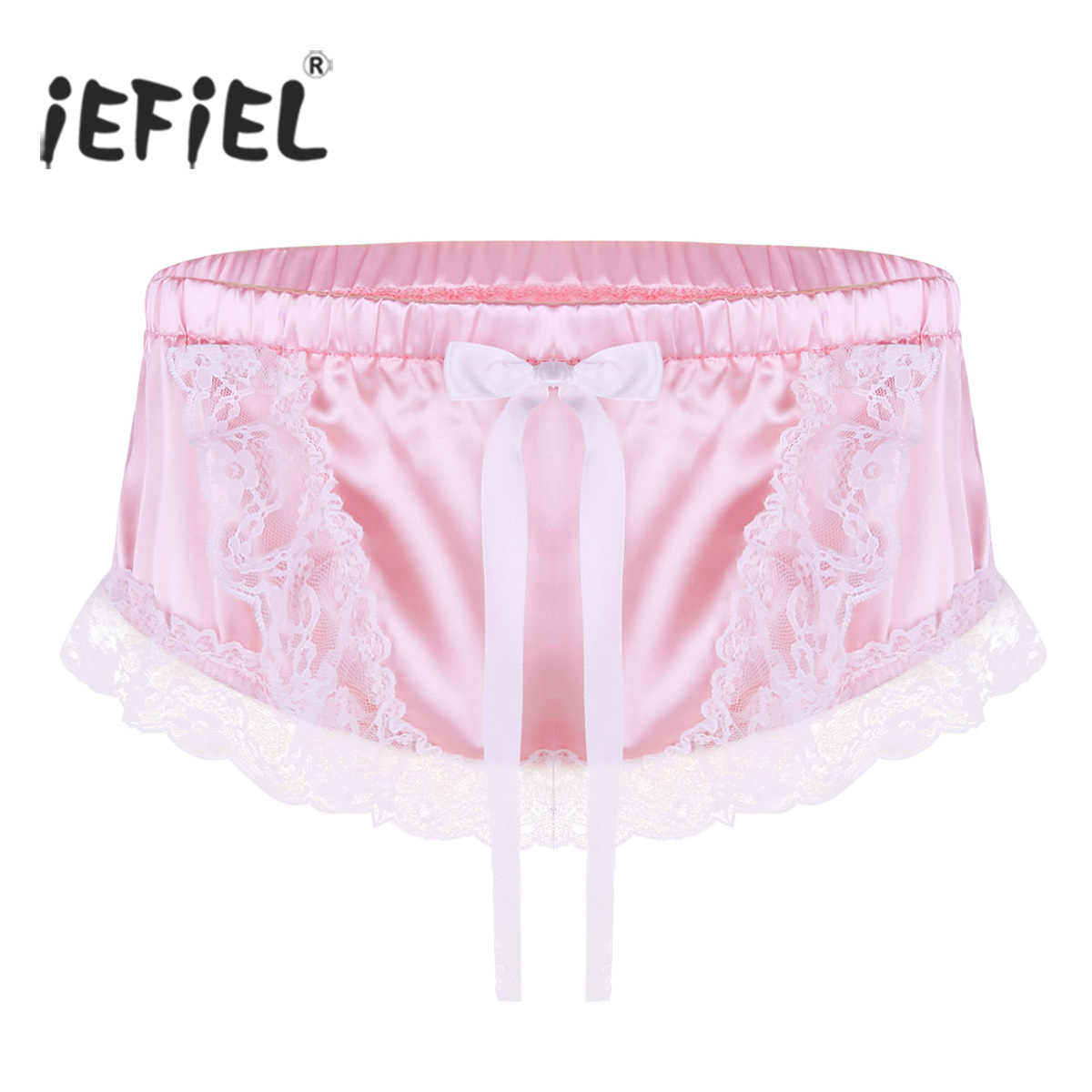 aca01b684602 Sexy Sissy Gay Mens Lingerie Panties Shiny Soft Satin Ruffled Lace Floral  and Cute Bowknot Briefs