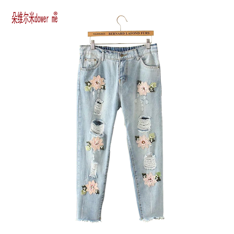 Drop Shipping Boyfriend Jeans Denim Sequins Beading Pencil Jeans Women Club Style Street Holes Ripped Jeans femme New Fashion women jeans autumn new fashion high waisted boyfriend street style roll up bottom casual denim long pants sp2096
