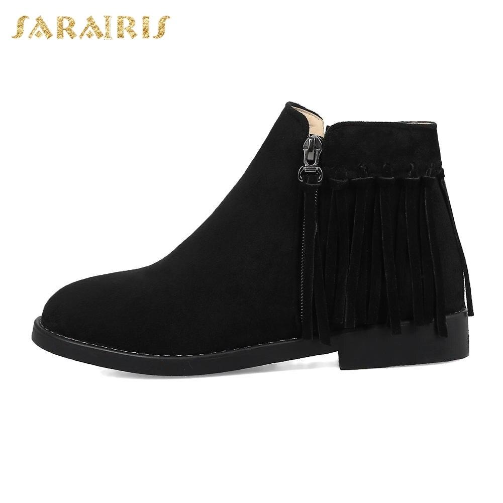 00fd71ac Mujer Nueva Zip Sarairis Al Zapatos Flecos Mayor Up Botas Negro Ocio Cortas  Moda Por marrón vZZwdX