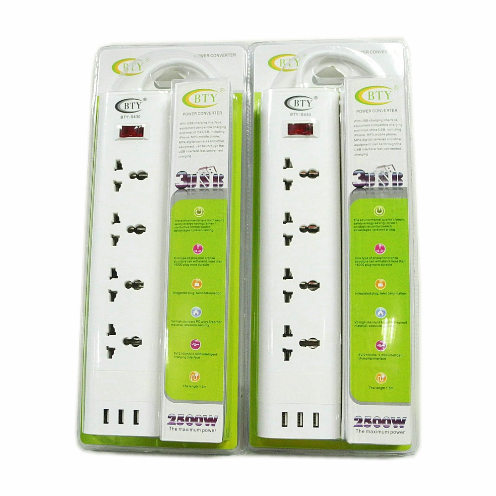 BTY-S430 Smart 2in1 charger Universal Socket with 3 USB US EU UK Plug 100-240V 2500W Fast Charger Wall Charger image