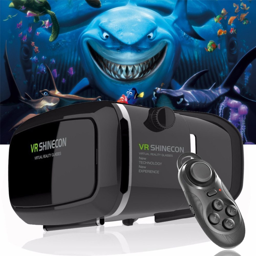 Caldo! 2018 Google Cartone VR shinecon Pro Versione VR Realtà Virtuale 3D Occhiali + Astuto Senza Fili di Bluetooth di Controllo Remoto Gamepad