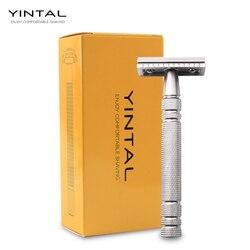 ماكينة حلاقة YINTAL شفرة سلامة كلاسيكية فضية غير لامعة لحلاقة الرجال جودة مقبض نحاسي نحاسي مزدوج الحافة ماكينة حلاقة يدوية