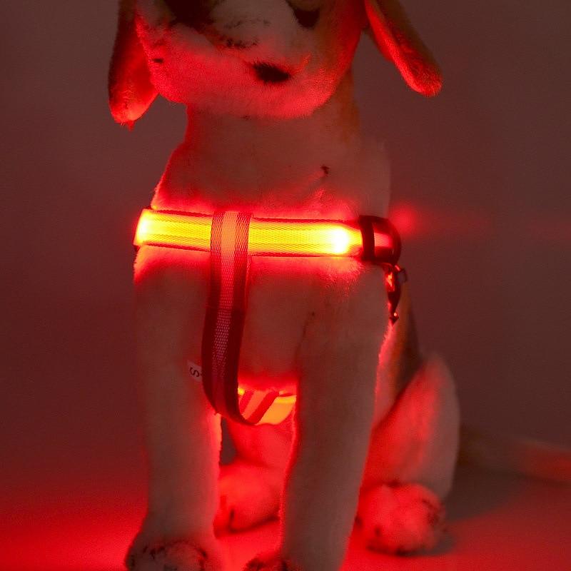 Hot Pet Supplies LED Dog Harness Pet Cat Dog Collar Nylon Harness Vest Safety Lighted Dog Harness Adjustable S,M,L,XL Wholesale