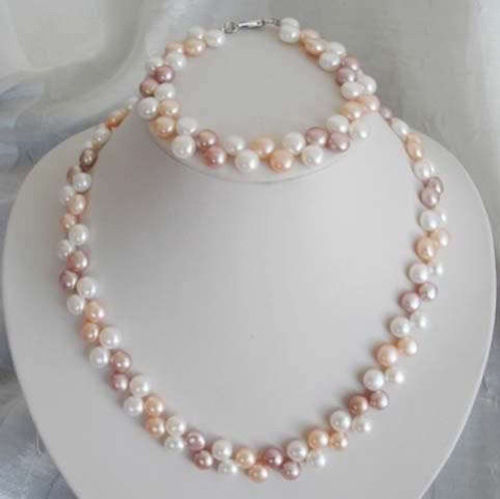 Hot sale 7 8mm White/Pink/Purple Akoya Cultured Pearl Necklace Bracelet Set DIY Jewelry Design Wholesale and retail