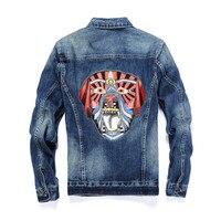vintage fashion dog embroidery men denim jacket