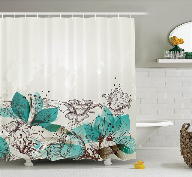 Memory Home Turquoise Decor Shower Curtain Retro Floral Background Nature Bathroom Accessories Polyester Fabric