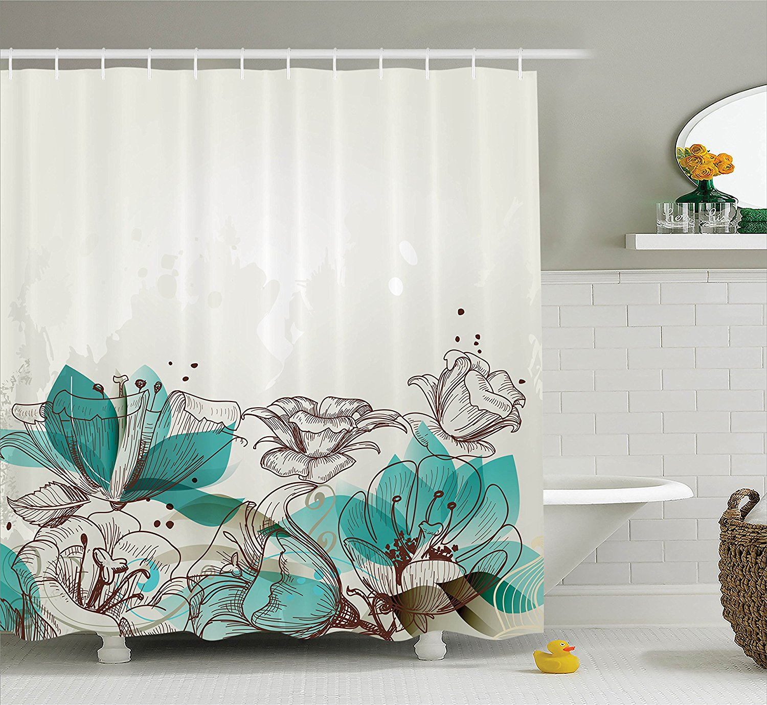 memory home turquoise decor shower curtain retro floral background nature bathroom accessories polyester fabric shower curtain