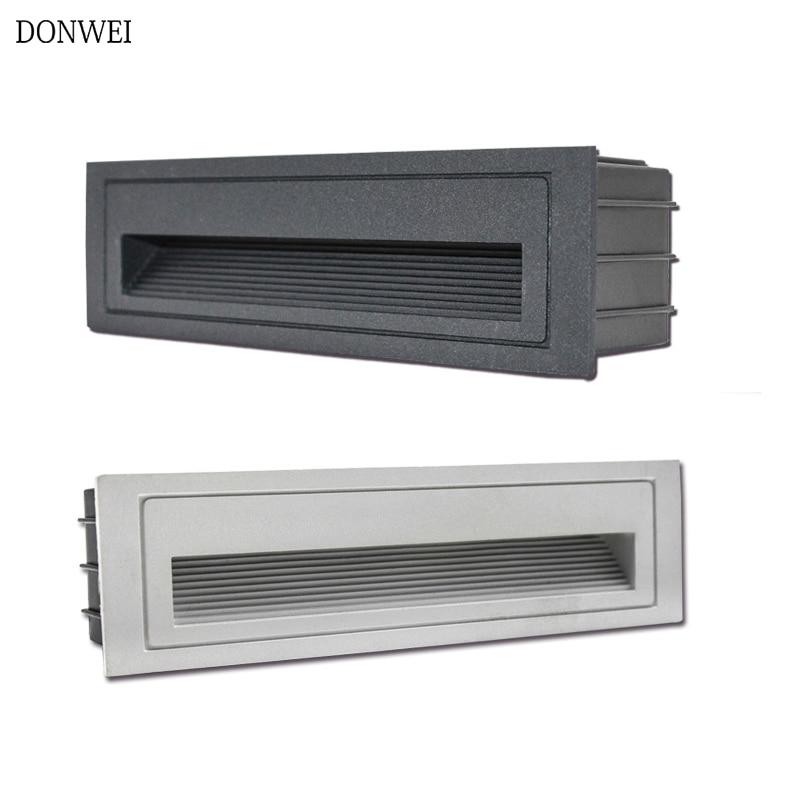 DONWEI 4W Outdoor Led Step Light IP65 Aluminum Embedded Staircase Corner Lamp Waterproof Recessed Wall Stair Lamp Footlight
