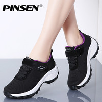 PINSEN 2019 New Flats Women Platform Sneakers Breathable Mesh Lace up Basket Femme Women Heel Wedges Shoes for Women creepers
