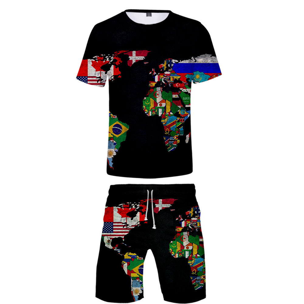Cool WORLD MAP Cool Harajuku Fashion New Arrival 3D Streetwear Two Piece Set O-neck Tshirt And Shorts Map Accessories Men's Set