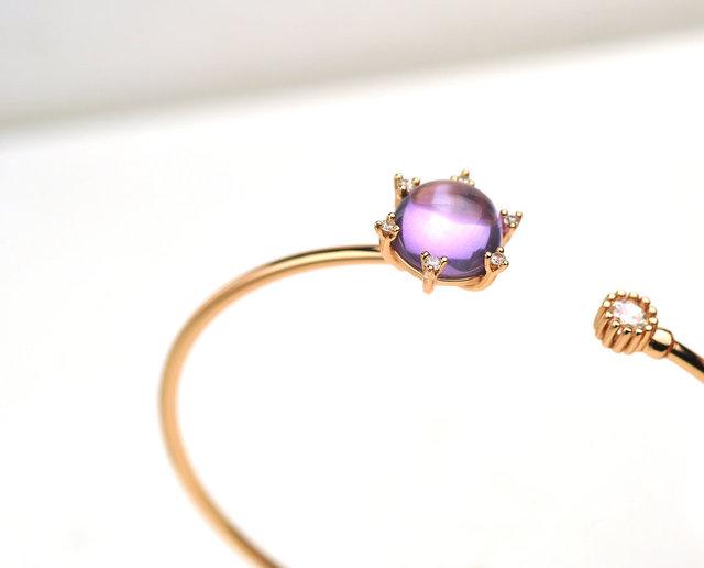 Gemore Round Natural Purple Gemstone 4.6CT Amethyst 925 Sterilng Silver Women Fashion Bangle Fine Jewelry