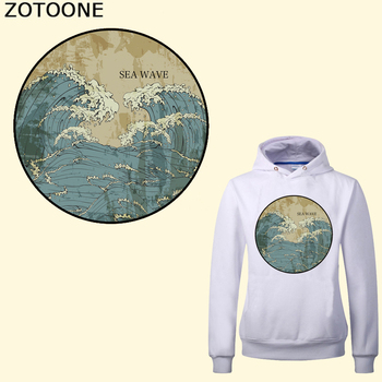 ZOTOONE Sea Wave Heat Transfer Vinyl Patches for Clothes T-shirt Dresses Washable Stickers Applique Iron-on Transfers DIY iron on patches big skull punk heat transfers for clothes stickers military badges diy t shirt applique tops print washable e