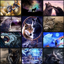 full Diamond Embroidery Wolf Mosaic  5D Cross Stitch Full  Drill Diamond Painting DIY Sticker Decor Paintings
