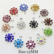 10 Pcs 12mm Crystal Rhinestone Button Flat back DIY Decoration for can mix color