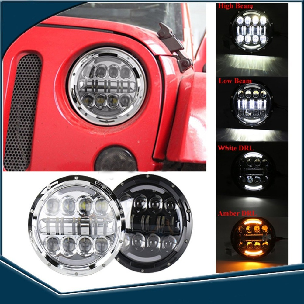 2016 New Car Accessories 7 Round 80w LED Hi/Lo Beam H4 Projector Headlight for Jeep Wrangler JK Land rover defender Headlight 7 75w 5d 7 inch round led projector daymaker headlight for jeep wrangler jk land rover defender 90