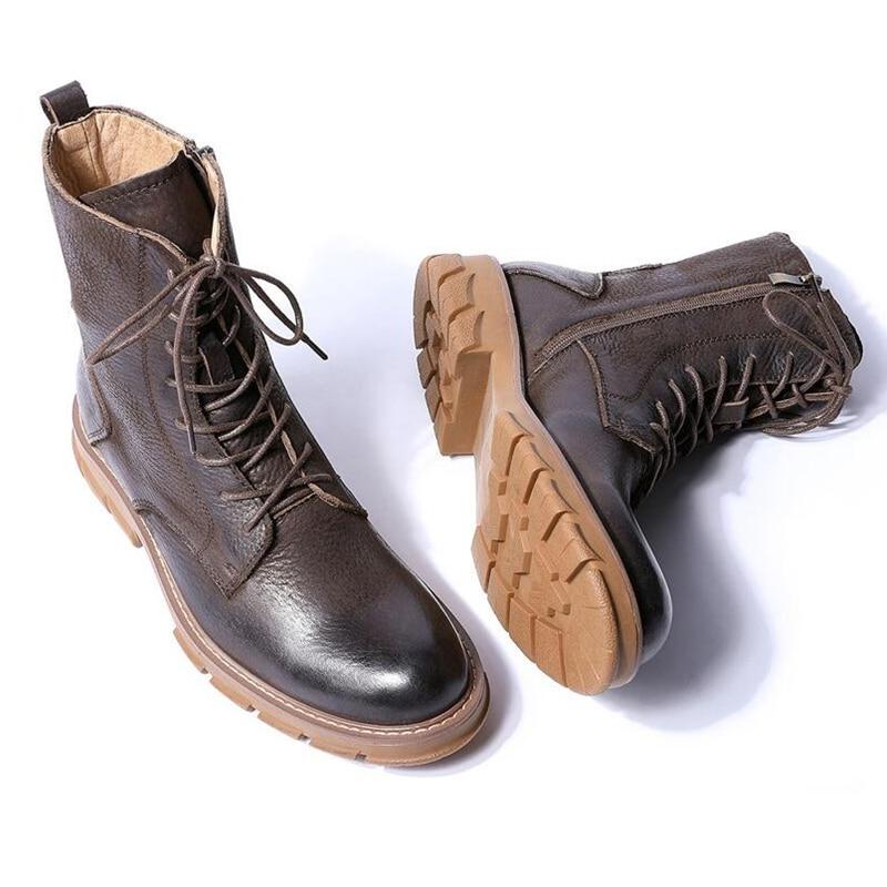Ayakk.'ten Basic Çizmeler'de Hakiki Deri Orta Buzağı Çizmeler Erkekler Retro Kalın Topuk Askerler Sürme Botları Iş Güvenliği Kışlık Botlar Adam Için Yüksek Kaliteli'da  Grup 3