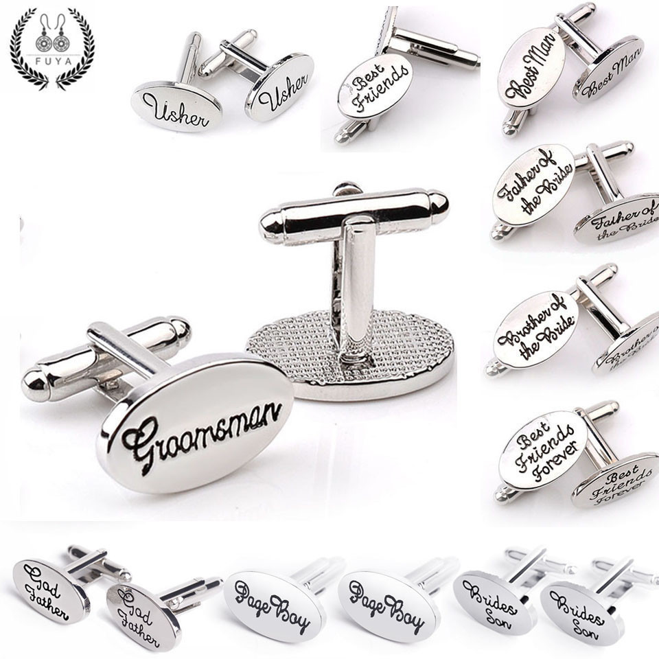 Trendy father brother of the groom son best friends usher god page boy wedding cufflinks for men cufflinks buttons gifts jewelry