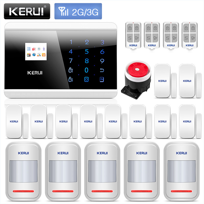 цена KERUI 8219G 3G Home Business GSM PSTN Dual Alarm Security System Auto Dial With Door Sensor Motion Detector burglar Alarm