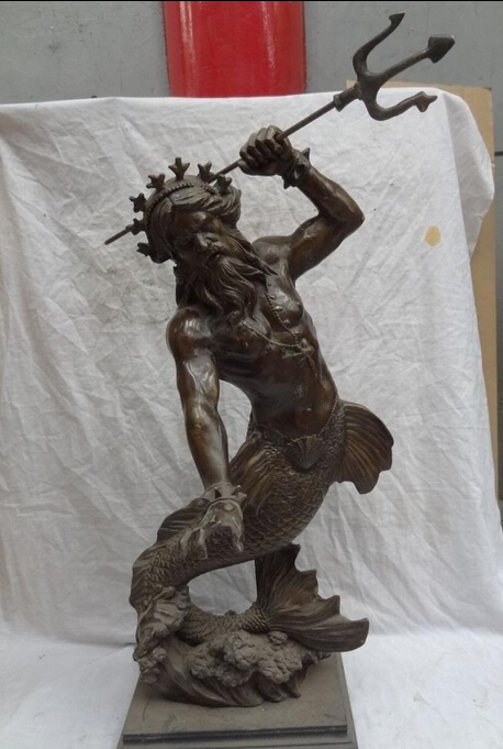 007947 28 Chinese Bronze Art Davy Jones Nereus Mermaid Sea Fish God Statue Sculpture