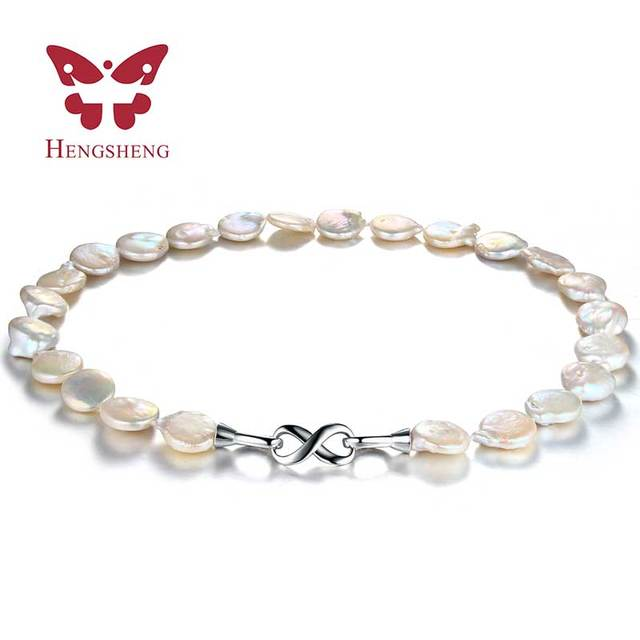 1c61e66b9d93a7 Fashion 100% genuine 10-11mm freshwater pearl necklace, Trendy flat white  irregular pearl pendant&necklace for women gift 2019