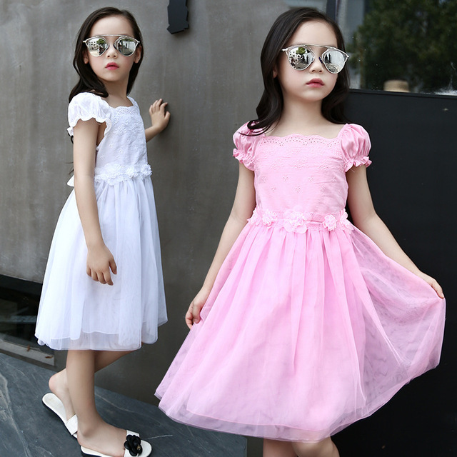 Kids Girls Dresses Summer 2017 Short Sleeve Princess Dress with Flowers for Girls Clothes Children Clothing Vestido Pink White kids girls dresses for party and wedding 2016 summer lace flowers princess dress for girls clothes vestido pink yellow green